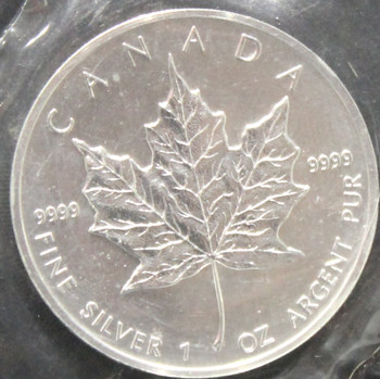 1oz. 1991 CANADIAN SILVER MAPLE LEAF COIN