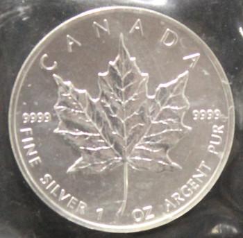 1oz. 1992 CANADIAN SILVER MAPLE LEAF COIN