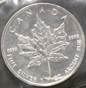 1oz. 1996 CANADIAN SILVER MAPLE LEAF COIN