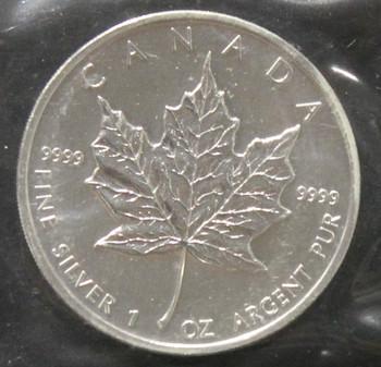 1oz. 2002 CANADIAN SILVER MAPLE LEAF COIN
