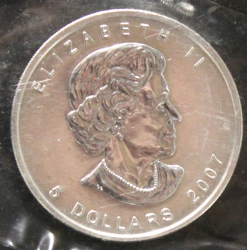 1oz. 2007 CANADIAN SILVER MAPLE LEAF COIN