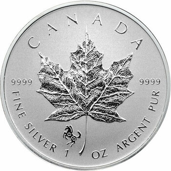 1oz. 2014 CANADIAN YEAR OF THE HORSE PRIVY MARK SILVER MAPLE LEAF COIN