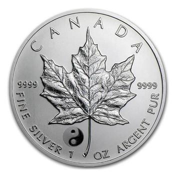 1oz. 2016 CANADIAN YIN YANG PRIVY MARK SILVER MAPLE LEAF COIN