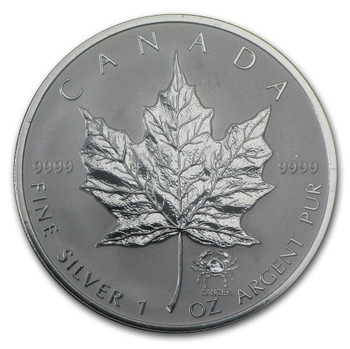 1oz. 2004 CANADIAN CANCER PRIVY MARK SILVER MAPLE LEAF COIN