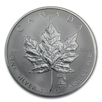 1oz. 2004 CANADIAN VIRGO PRIVY MARK SILVER MAPLE LEAF COIN