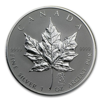 1oz. 2004 CANADIAN LIBRA PRIVY MARK SILVER MAPLE LEAF COIN