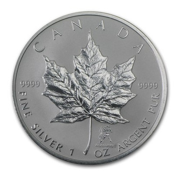 1oz. 2004 CANADIAN AQUARIUS PRIVY MARK SILVER MAPLE LEAF COIN