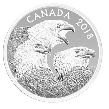 2018 $15 FINE SILVER COIN - MAGNIFICENT BALD EAGLES