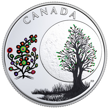 2018 $3 FINE SILVER COIN –THE THIRTEEN  TEACHINGS FROM GRANDMOTHER MOON: FLOWER MOON