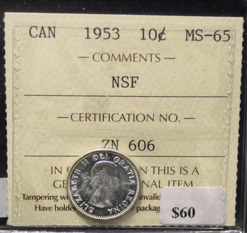 1953 CANADIAN 10-CENT ICCS  MS-65 (NSF)