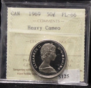 1969 CANADIAN 50-CENT  ICCS PL-66 (HEAVY CAMEO)