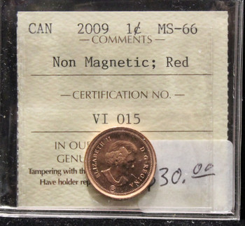 2009 CANADIAN ONE CENT ICCS MS-66 (NON-MAGNETIC, RED)