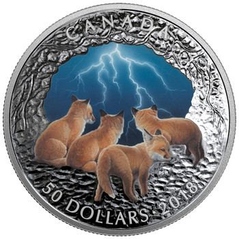 2018 $50 FINE SILVER COIN NATURE'S LIGHT SHOW: STORMY NIGHT