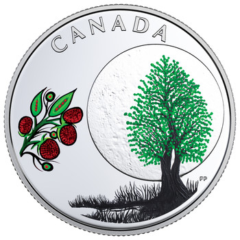 2018 $3 FINE SILVER COIN –THE THIRTEEN  TEACHINGS FROM GRANDMOTHER MOON: RASPBERRY MOON