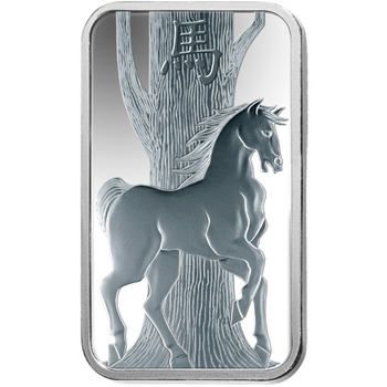 .999 1 OZ SILVER BAR LUNAR YEAR OF THE HORSE - PAMP MINT