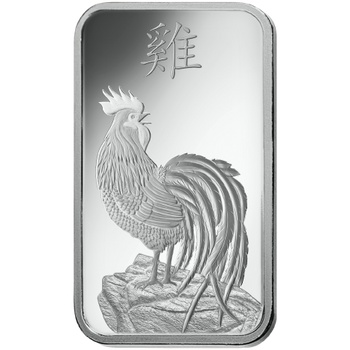 .999 10 GRAM SILVER BAR LUNAR YEAR OF THE ROOSTER - PAMP MINT