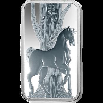 .999 10 GRAM SILVER BAR LUNAR YEAR OF THE HORSE - PAMP MINT