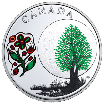 2018 $3 FINE SILVER COIN – THE THIRTEEN TEACHINGS FROM GRANDMOTHER MOON: THIMBLEBERRY MOON