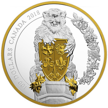 2018 $100 FINE SILVER COIN KEEPERS OF PARLIAMENT: THE BEAVER