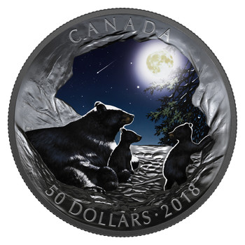 2018 $50 FINE SILVER COIN NATURE'S LIGHT SHOW: MOONLIT TRANQUILITY