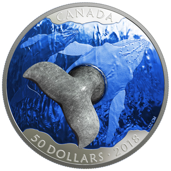 2018 $50 FINE SILVER COIN WHALE'S TAIL SOAPSTONE SCULPTURE