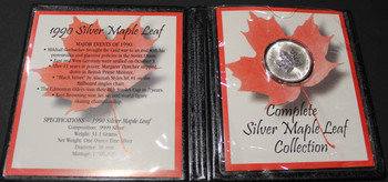 1990 SILVER MAPLE LEAF - .9999 1OZ. PURE SILVER - FIRST COMMEMORATIVE MINT FOLDER