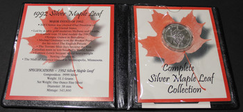 1992 SILVER MAPLE LEAF - .9999 1OZ. PURE SILVER - FIRST COMMEMORATIVE MINT FOLDER