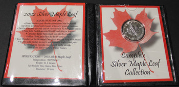2002 SILVER MAPLE LEAF - .9999 1OZ. PURE SILVER - FIRST COMMEMORATIVE MINT FOLDER