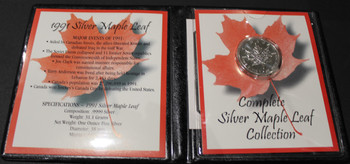 1991 SILVER MAPLE LEAF - .9999 1OZ. PURE SILVER - FIRST COMMEMORATIVE MINT FOLDER