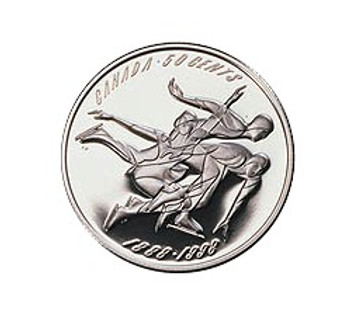 1998 STERLING SILVER 50-CENT PIECE - FIRST OFFICIAL FIGURE SKATING CHAMPIONSHIPS