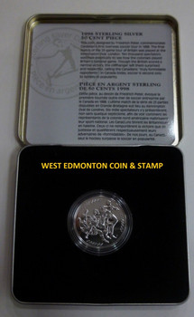 1998 STERLING SILVER 50-CENT PIECE - FIRST OVERSEAS CANADIAN SOCCER TOUR
