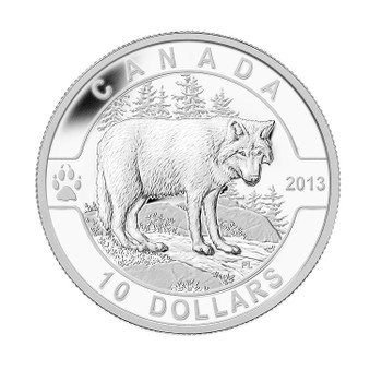 2013 $10 FINE SILVER COIN O CANADA SERIES - THE WOLF