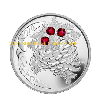2010 $20 FINE SILVER COIN - HOLIDAY PINECONES - RUBY