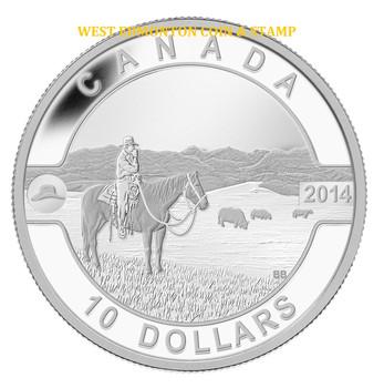 2014 $10 FINE SILVER COIN O CANADA - THE CANADIAN COWBOY