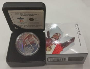 2007 OLYMPIC $25 STERLING SILVER HOLOGRAM COIN - ATHLETES' PRIDE