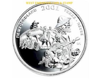 2001 50 CENT STERLING SILVER COIN - FESTIVALS OF CANADA - NEWFOUNDLAND & LABRADOR FOLK FESTIVAL