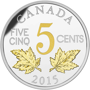 2015 5-CENT FINE SILVER COIN LEGACY OF THE CANADIAN NICKEL: THE TWO MAPLE LEAVES