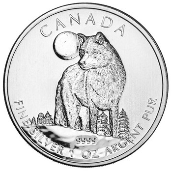 1oz. 2011 CANADIAN TIMBER WOLF SILVER COIN