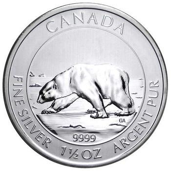1.5oz. 2013 CANADIAN POLAR BEAR SILVER COIN