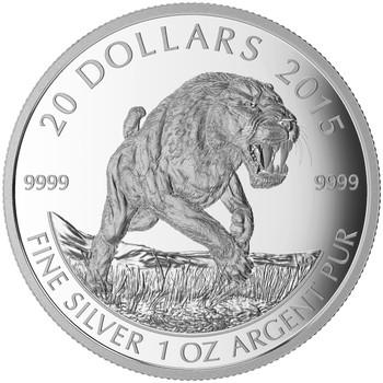 2015 $20 FINE SILVER COIN PREHISTORIC ANIMALS - AMERICAN SCIMITAR SABRE-TOOTH CAT