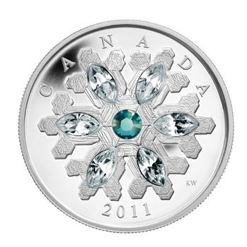 2011 FINE SILVER $20 COIN - CRYSTAL SNOWFLAKE - EMERALD