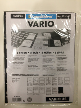 VARIO BLACK STAMP STOCKPAGES - FIVE SHEETS - THREE STRIPS