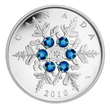2010 $20 FINE SILVER COIN - BLUE CRYSTAL SNOWFLAKE