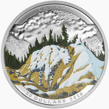 2016 $20 FINE SILVER COIN – LANDSCAPE ILLUSION MOUNTAIN GOAT