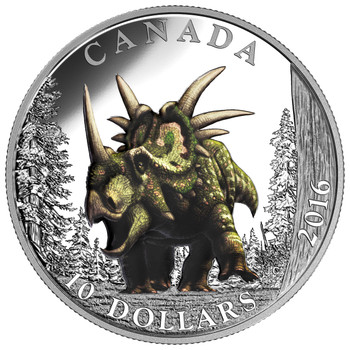 2016 $10 FINE SILVER COIN DAY OF THE DINOSAURS: THE SPIKED LIZARD