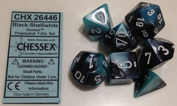BLACK-SHELL WITH WHITE - GEMINI - POLYHEDRAL 7-DIE SET
