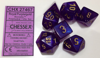 ROYAL PURPLE WITH GOLD - BOREALIS - POLYHEDRAL 7-DIE SET