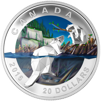 2016 $20 FINE SILVER COIN GEOMETRY IN ART: THE BEAVER