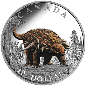 2016 $10 FINE SILVER COIN  DAY OF THE DINOSAURS: THE ARMOURED TANK