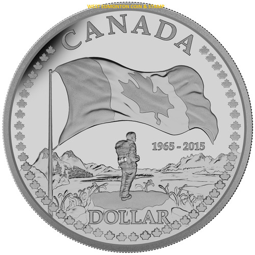 2015 Proof Silver Dollar The 50th Anniversary Of The Canadian Flag West Edmonton Coin Amp Stamp